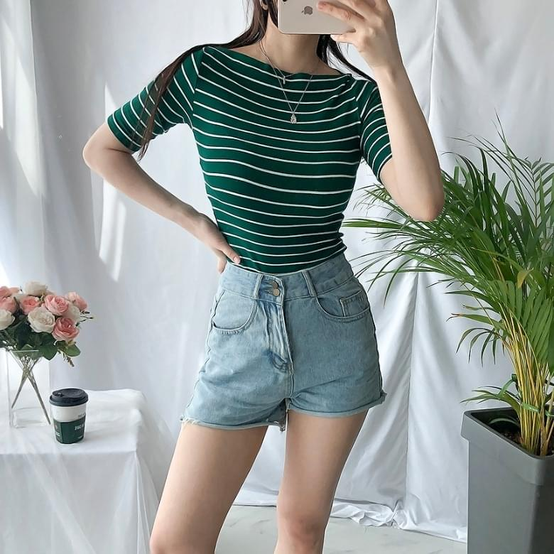 Freejay Striped Lip Neck T-Shirt 5colors