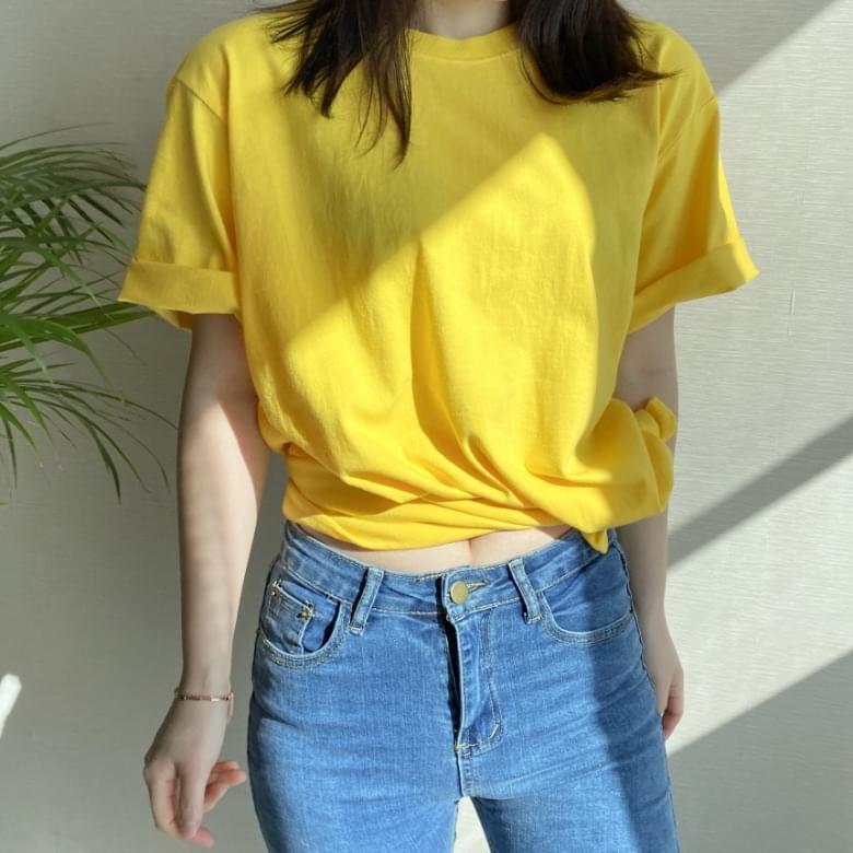 Freejay Basic Round Plain Short Sleeve T-Shirt 10colors