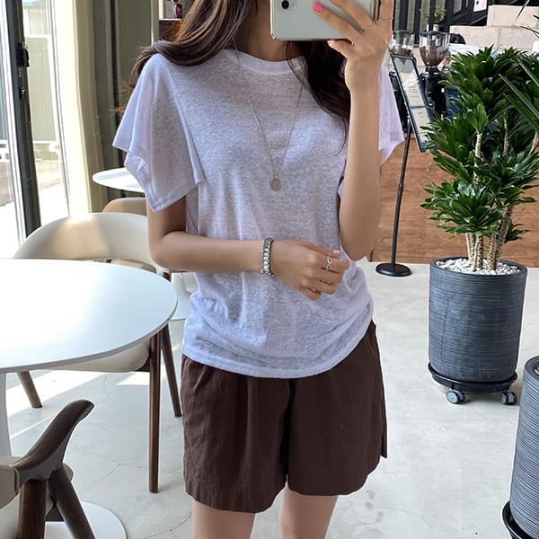 Linen Wing T-shirt & Neat Linen Shorts Set #108254,#75717