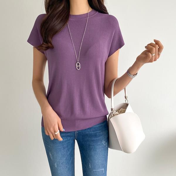 Cap Sleeve Round Neck Knit #108217