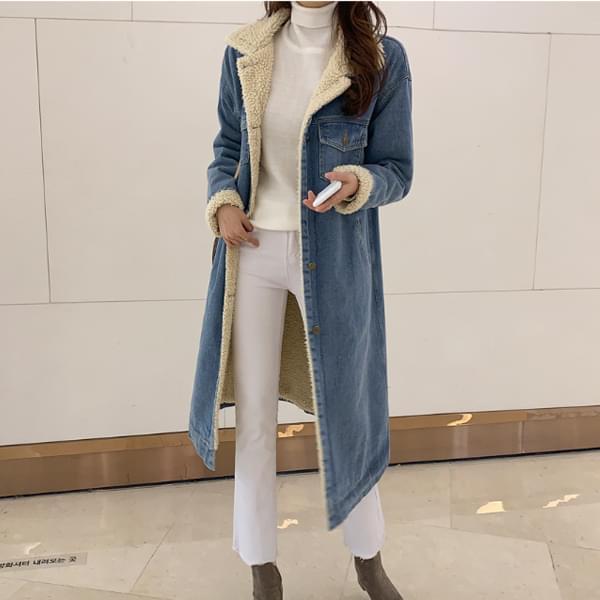 Paris Fleece Denim Long Jacket #65770