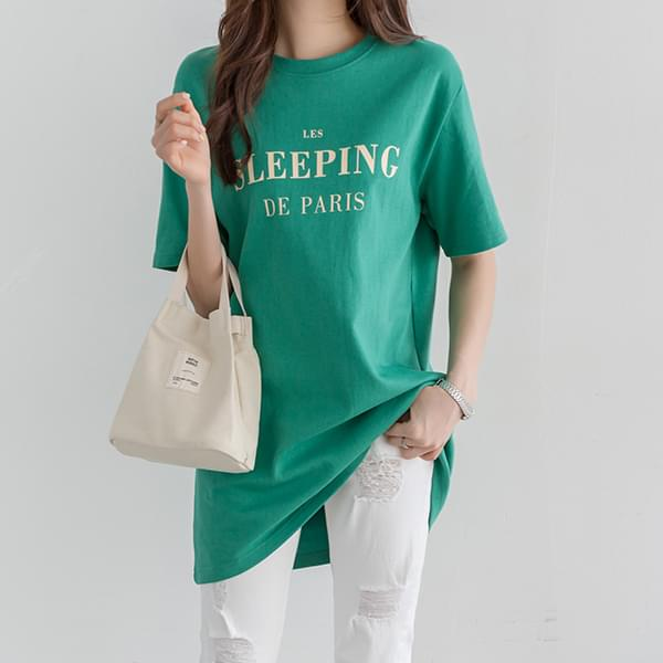 Sleeping Lettering Long T-shirt #107019
