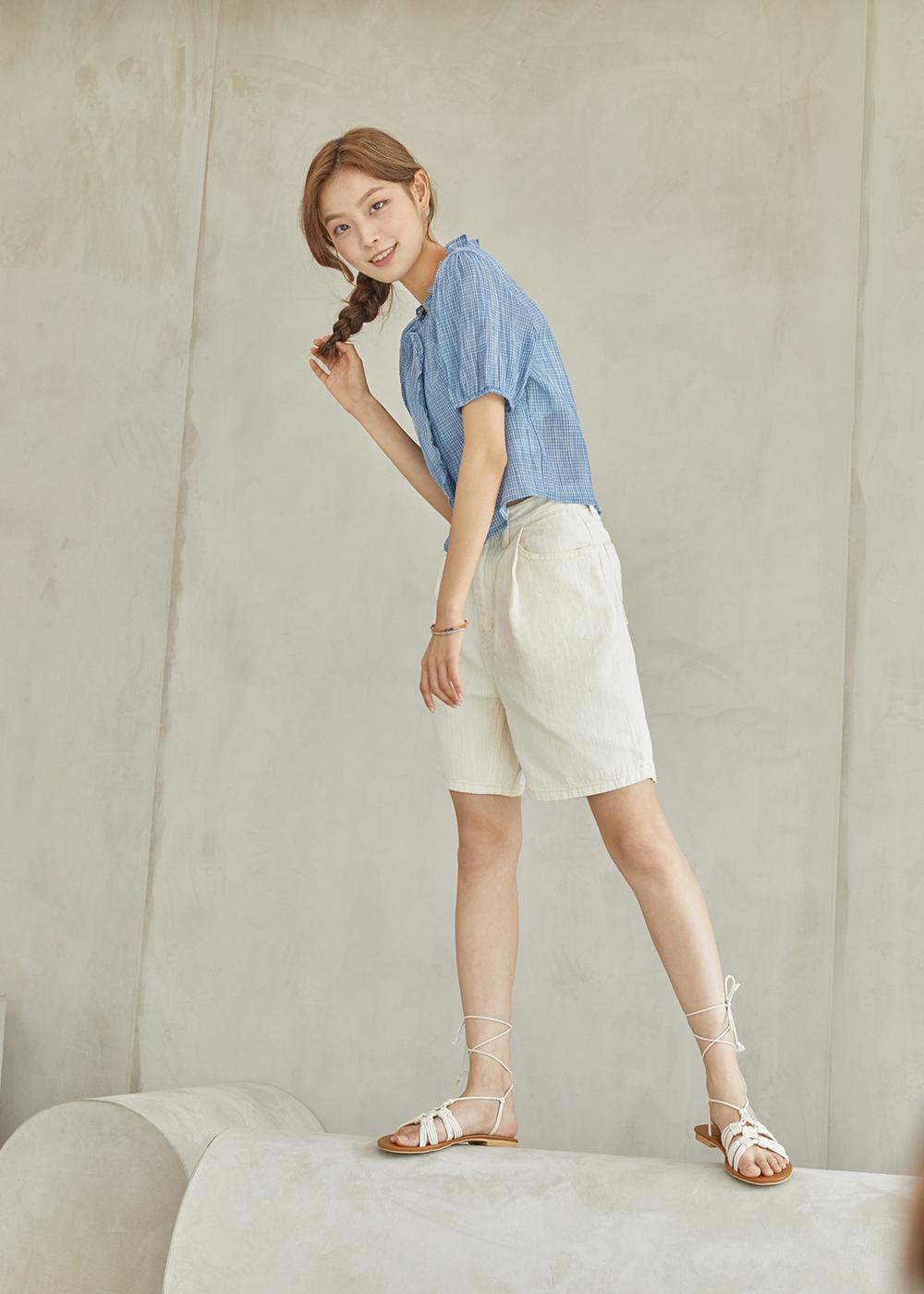 Linen cotton half pants