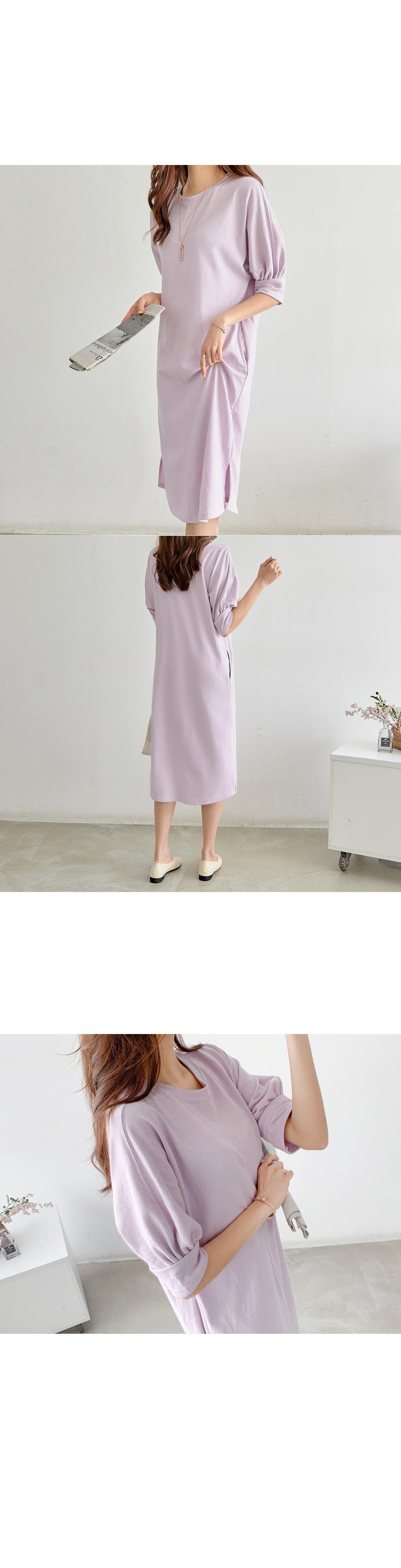 Balloon sleeve cotton long dress #35975