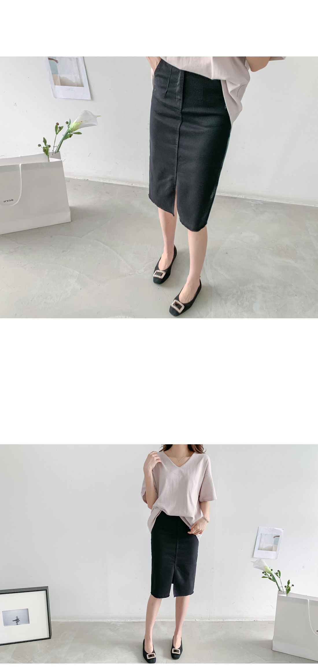 Sexy front midi skirt #51134 white S available
