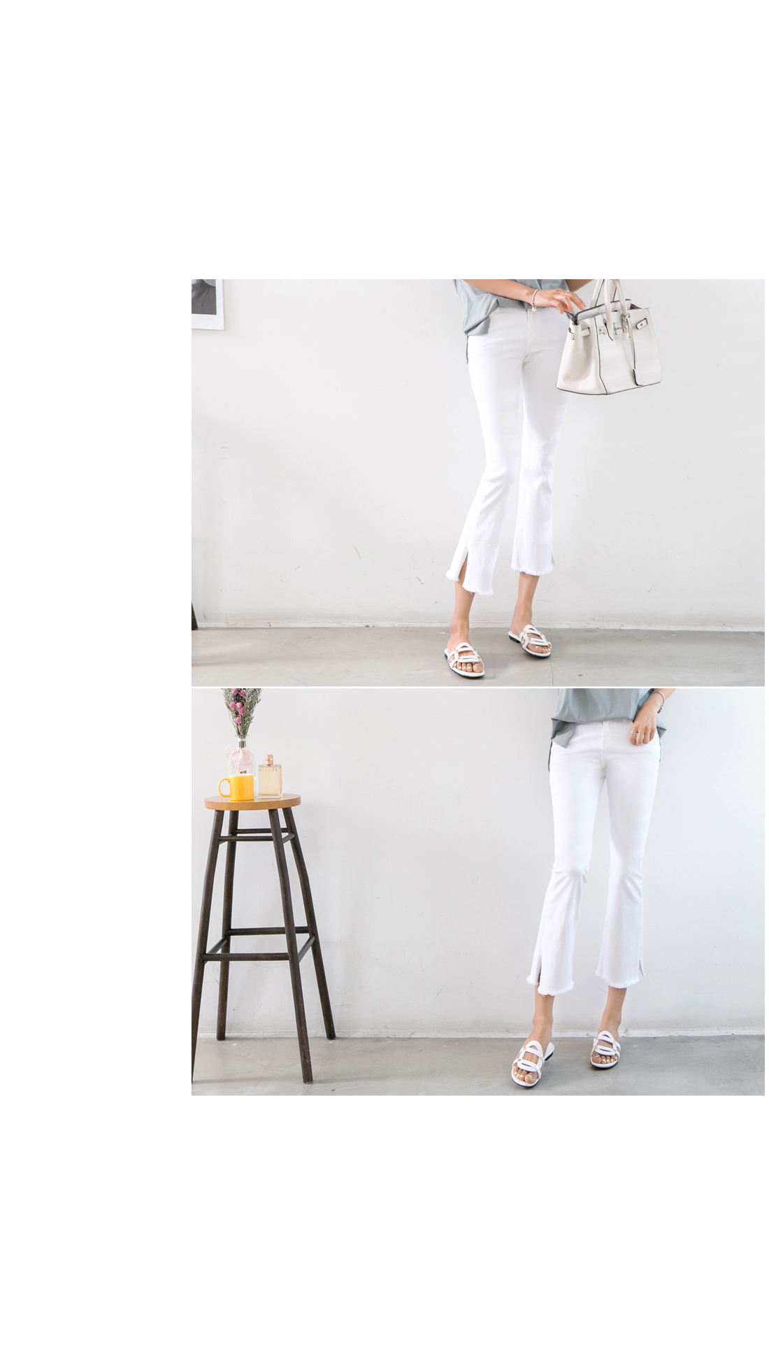 Daily 7 copies side trim white jeans #73751 size S/M/L available
