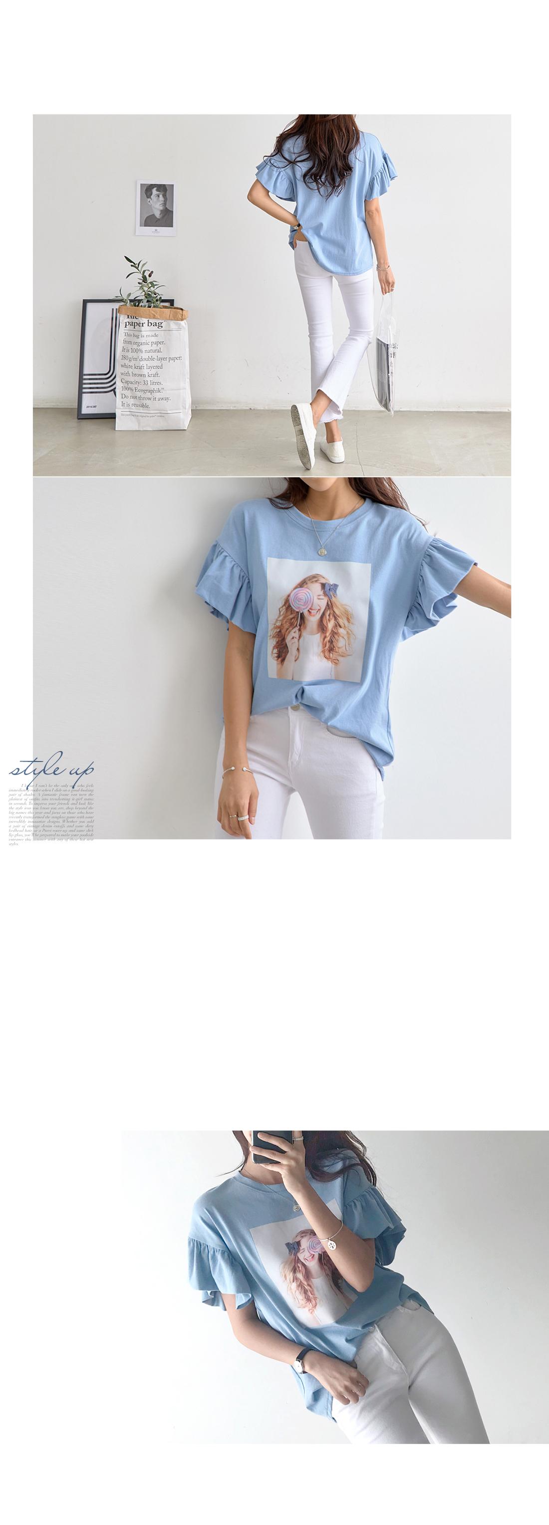 Candy frill sleeve T-shirt #105813