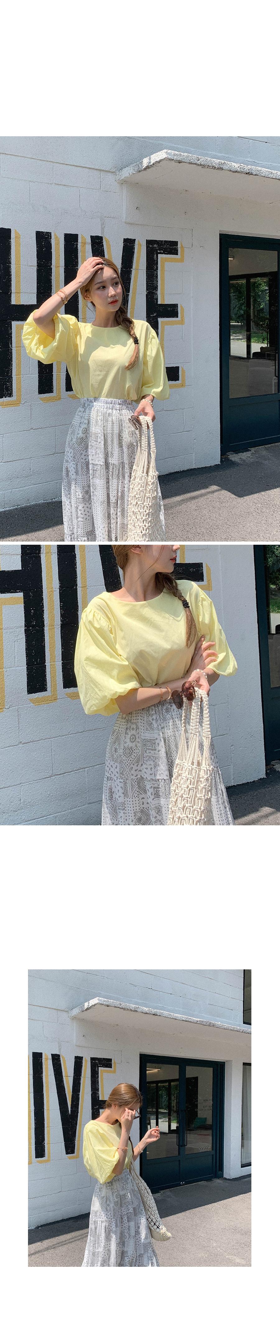 Youthful puff linen blouse
