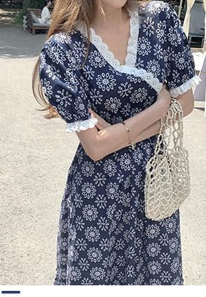 韓國空運 - Yugo Girl Lace Flower Dress 及膝洋裝