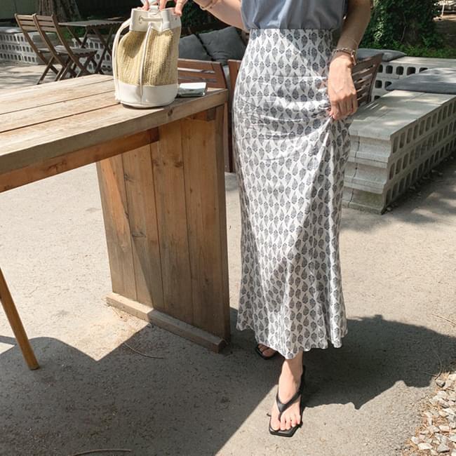 Leaf Pattern Maxi Long Skirt