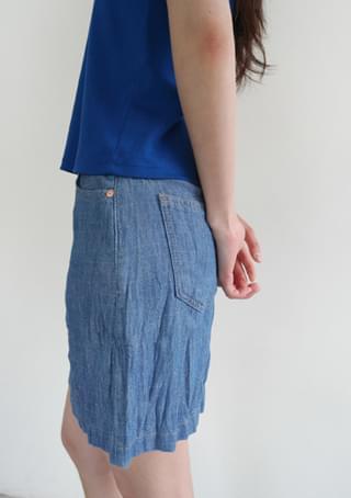wrinkle mini denim skirt