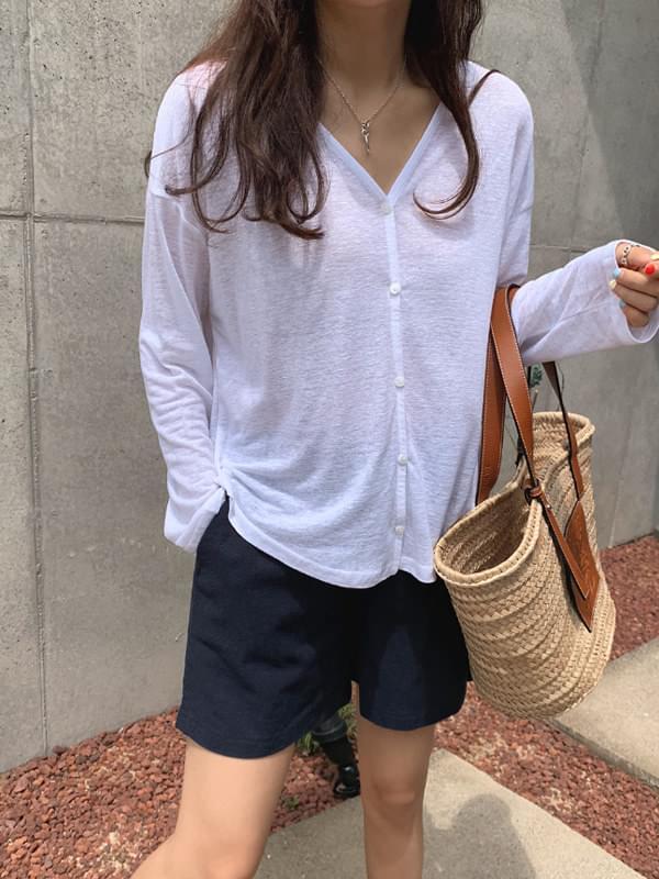 Natural linen tea cardigan