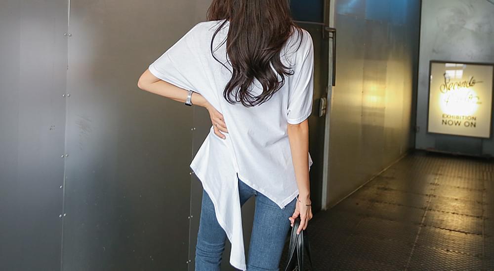 Unbalanced collar T-shirt #105824