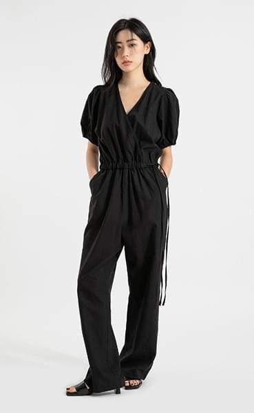 Storm linen puff strap jumpsuit