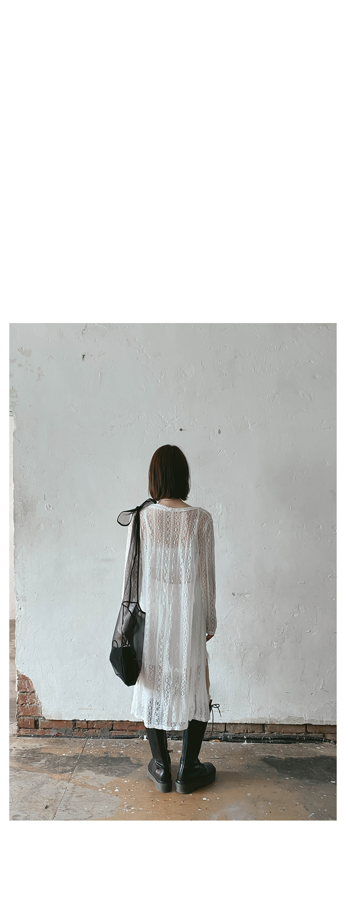 See-through lace long cardigan