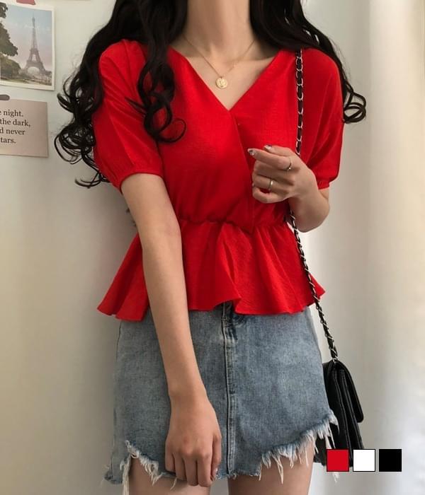 Pomegranate flare chiffon blouse