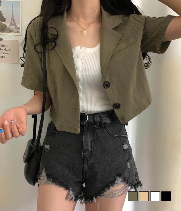 Blanc cropped linen short sleeve jacket