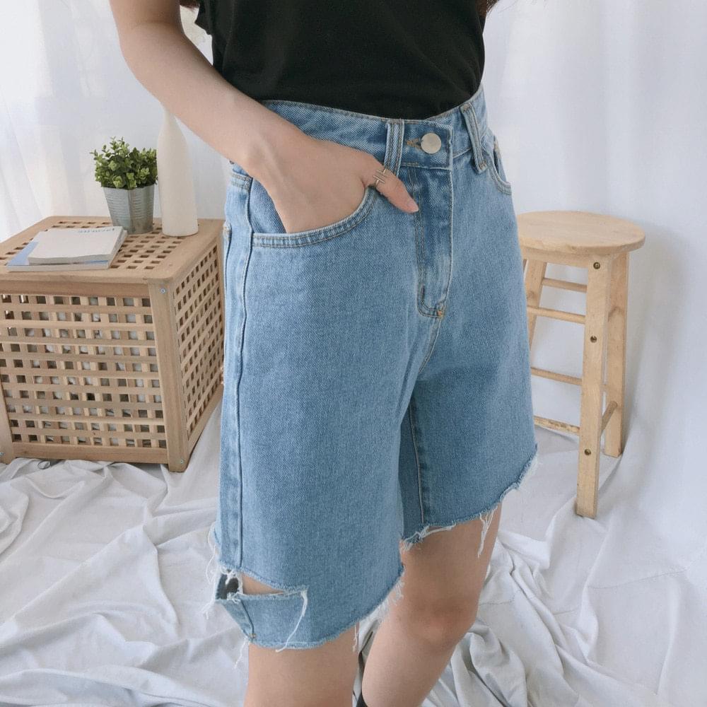 551 4 side cut denim shorts