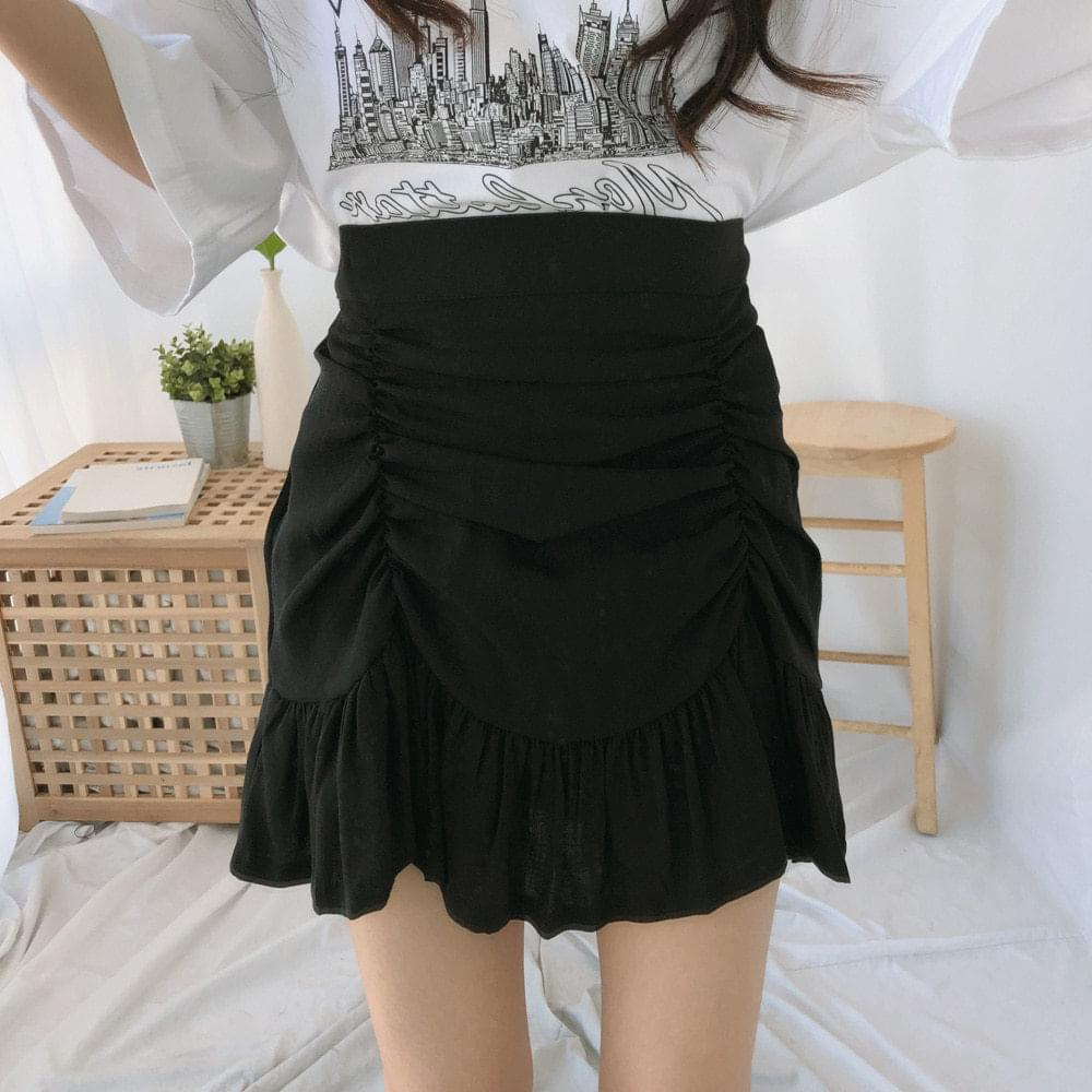 Crown shirring mini skirt