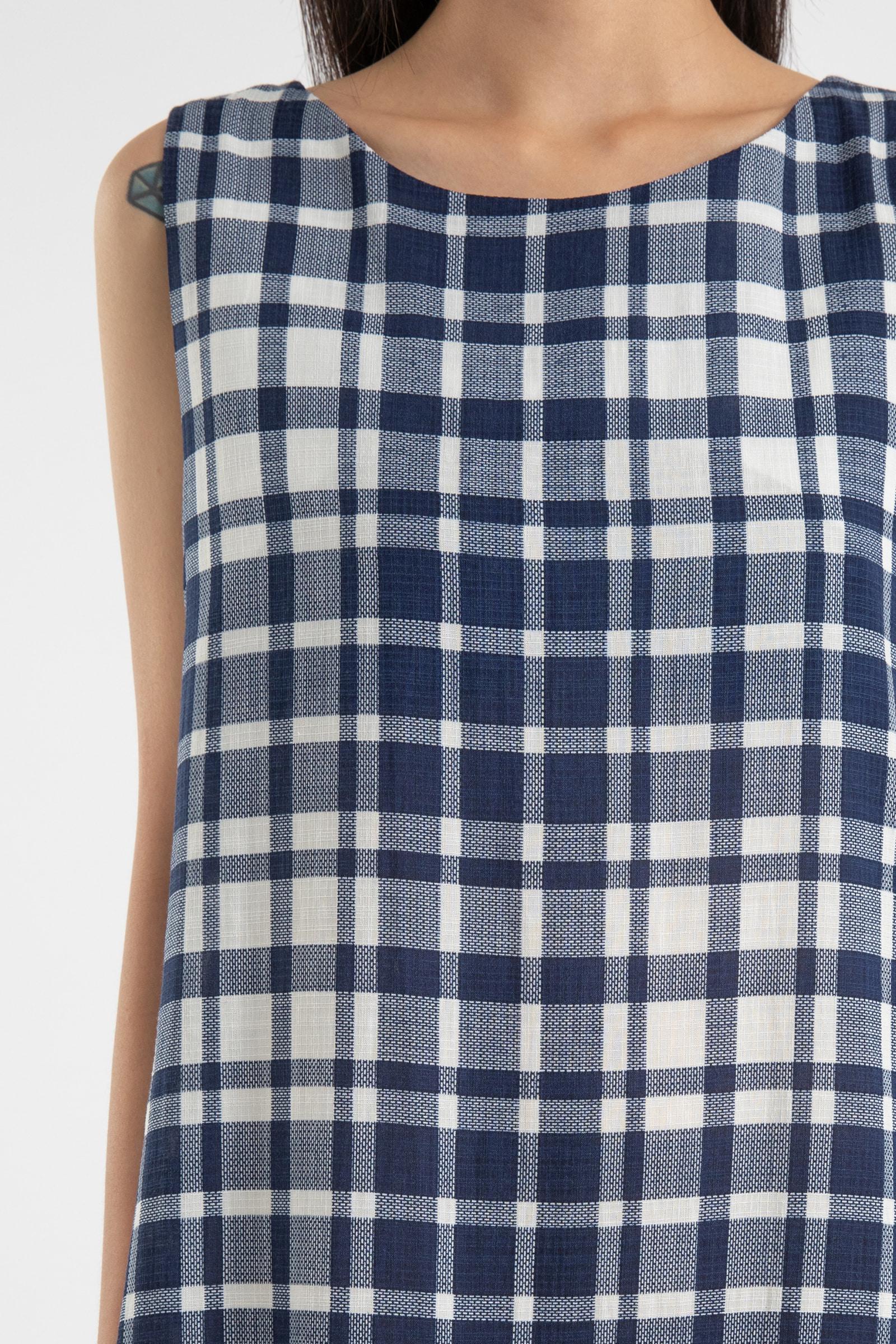 Stopper check frill maxi dress