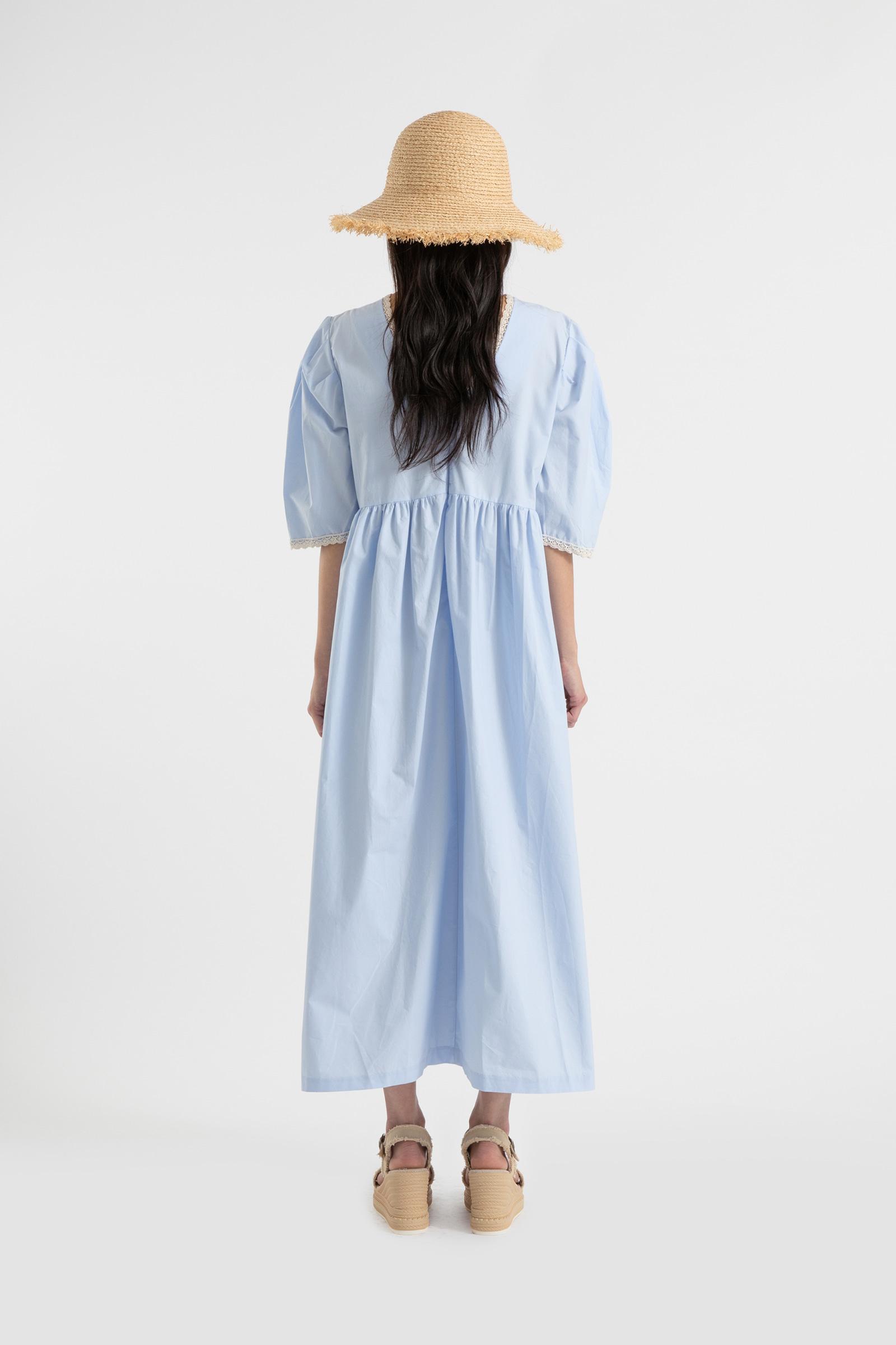 Eyelet lace puff maxi dress