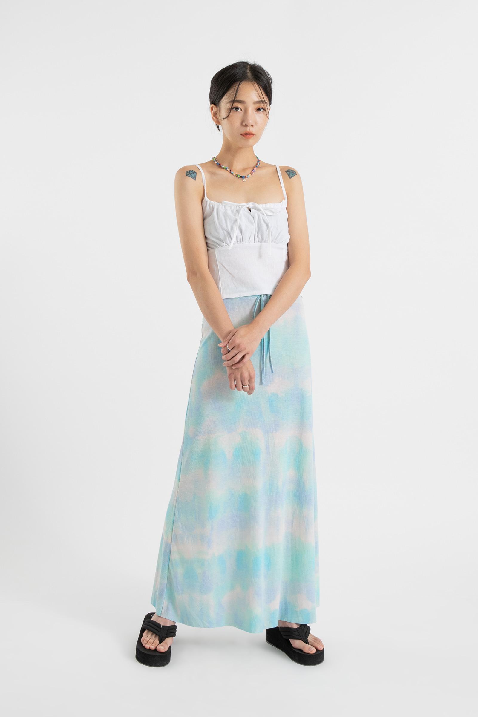 Ocean marbling banding maxi skirt