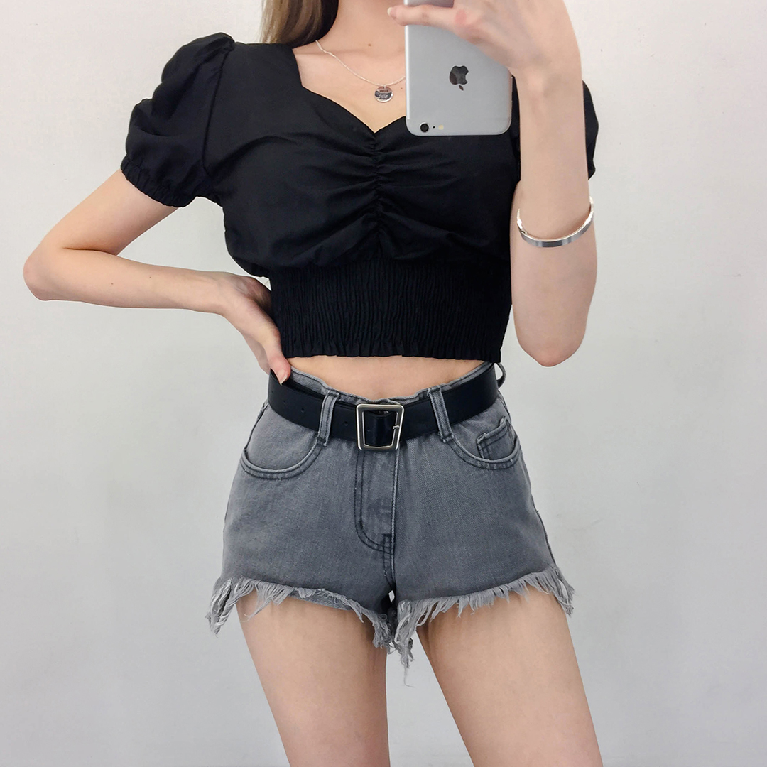 Puff Shirring Crop T-shirt