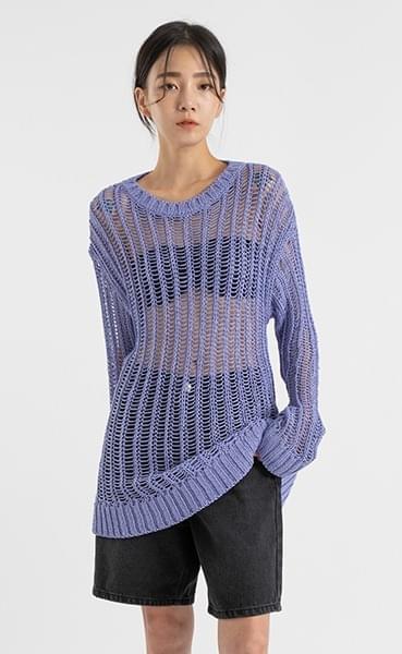 Pottery Net Round Neck Knit