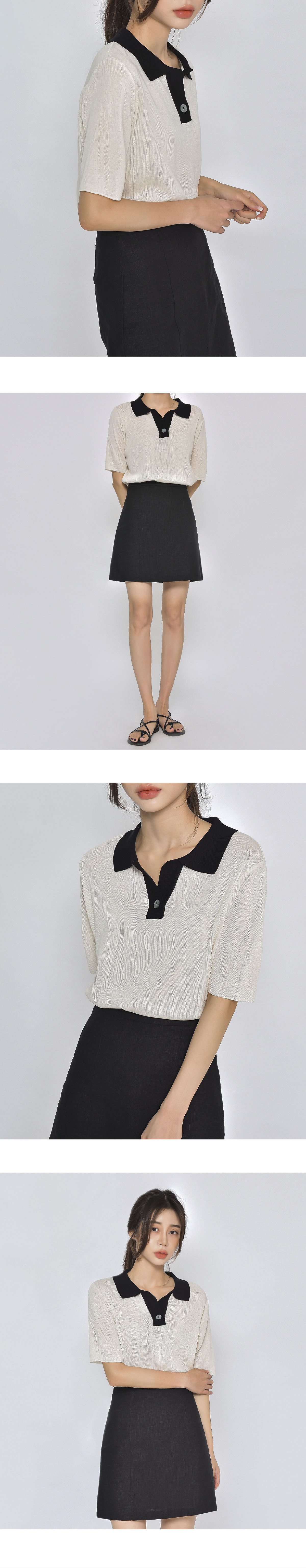 Single button collar knit