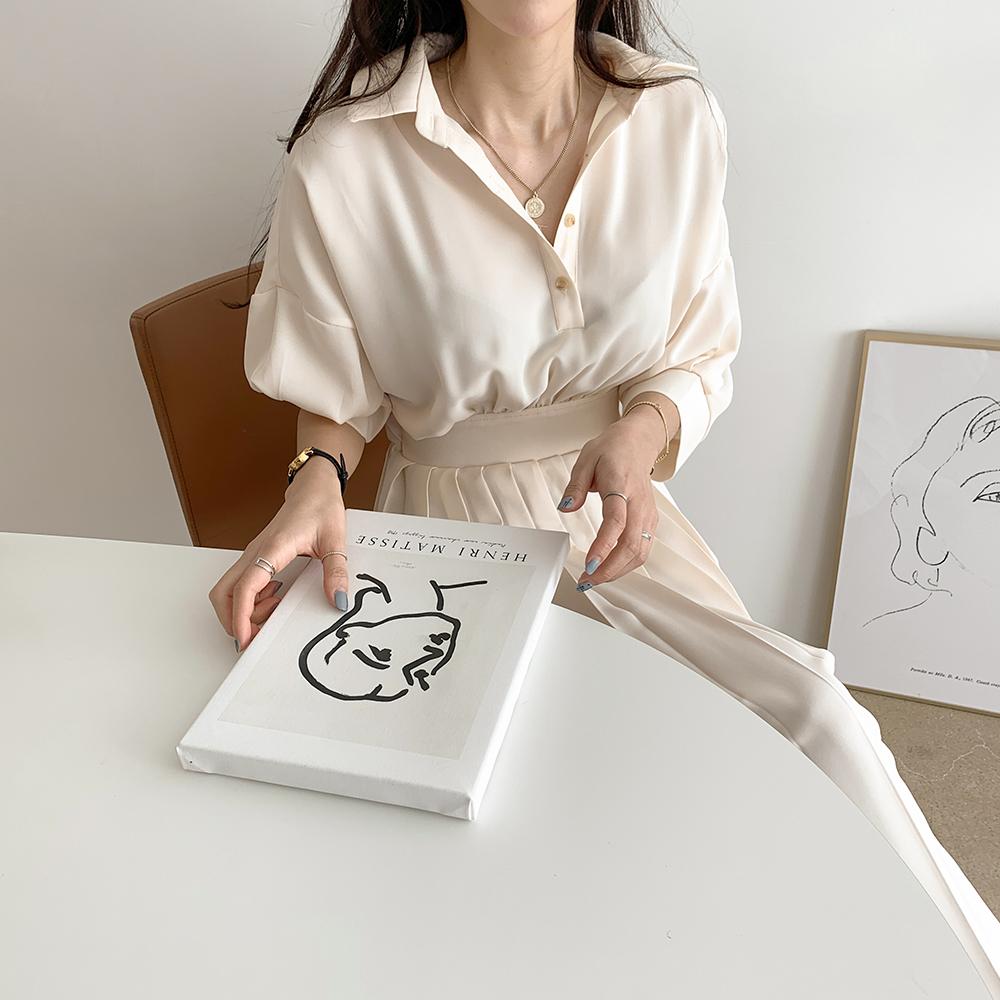 Shirt collar pleated long dress