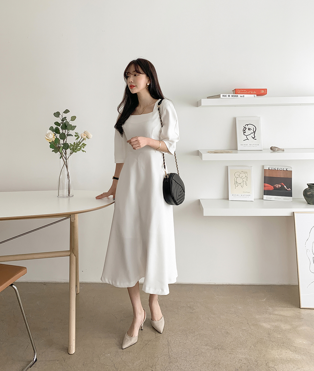 Mary Square Neck Long Dress