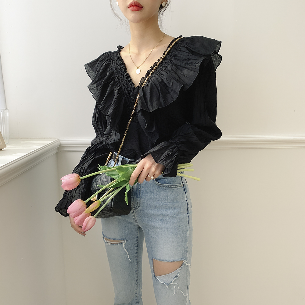 Ruffle wing pleated blouse