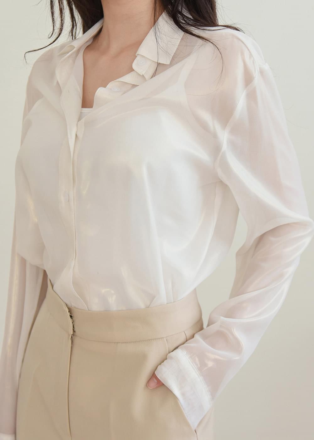 Silver silver see-through blouse