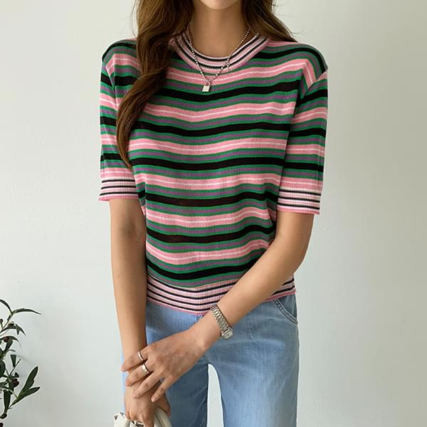 Striped slim short sleeve knit #108310