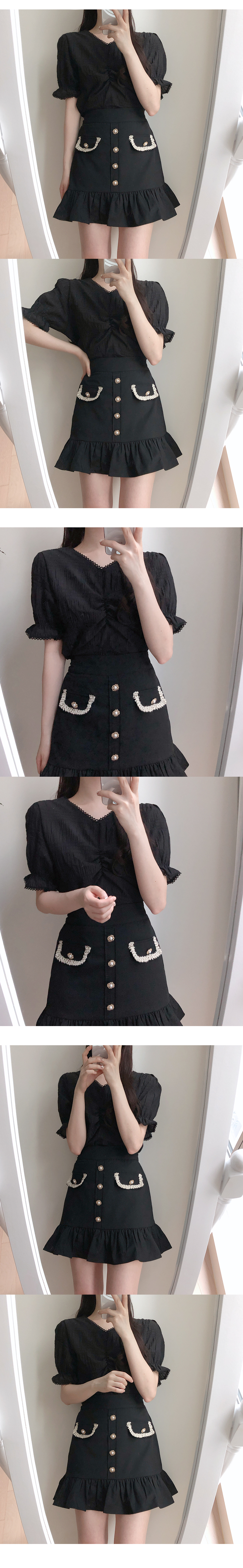 Fuel lace shirring blouse