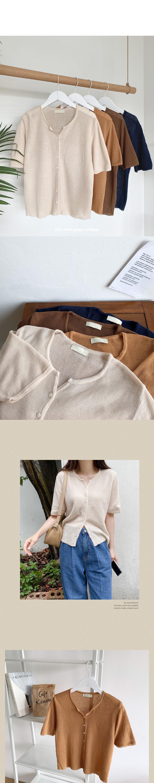 Clip trim neck ribbed short-sleeved cardigan