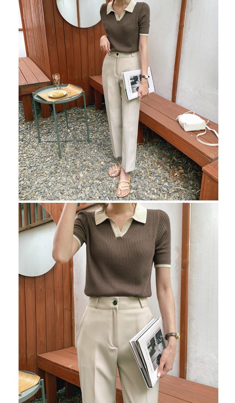 Color Collar Neck Summer Corrugated Tee