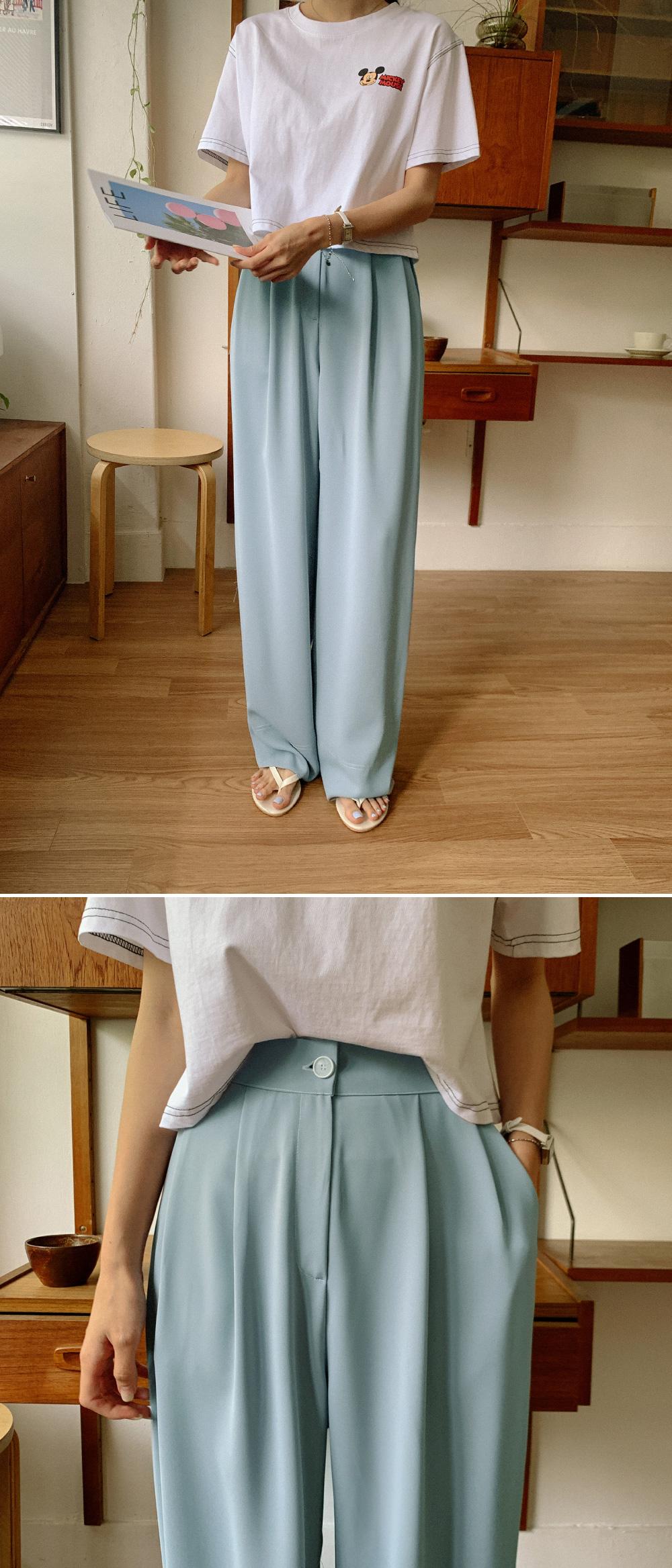 Stitch high waist pintuck slacks