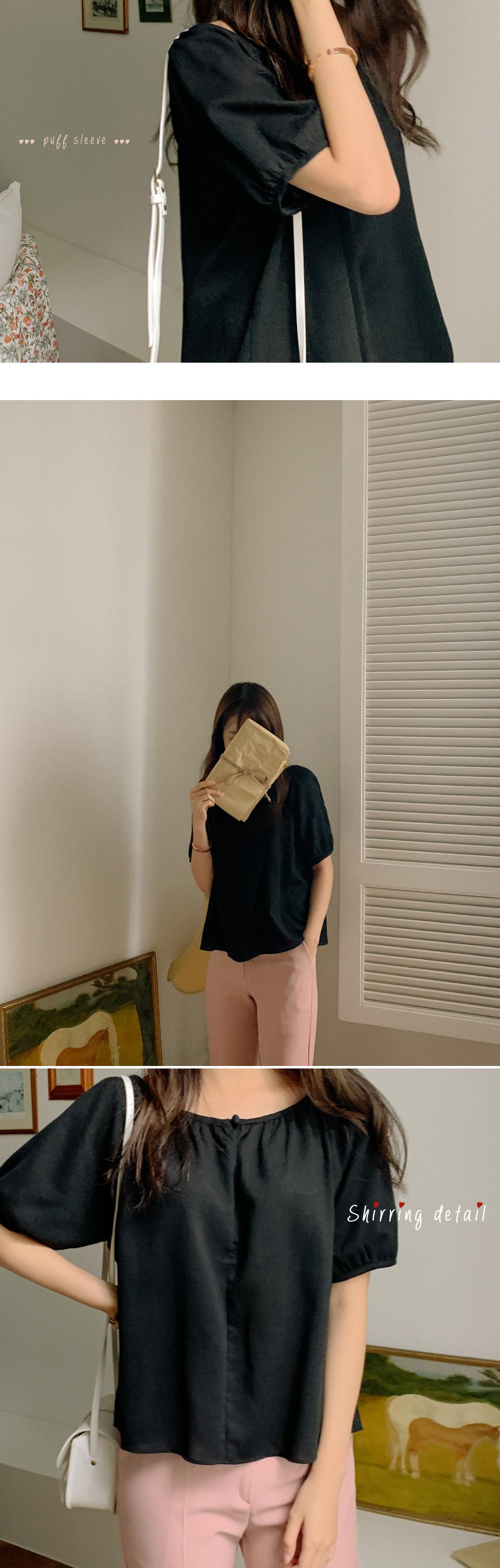 Puff sleeve shirring linen blouse