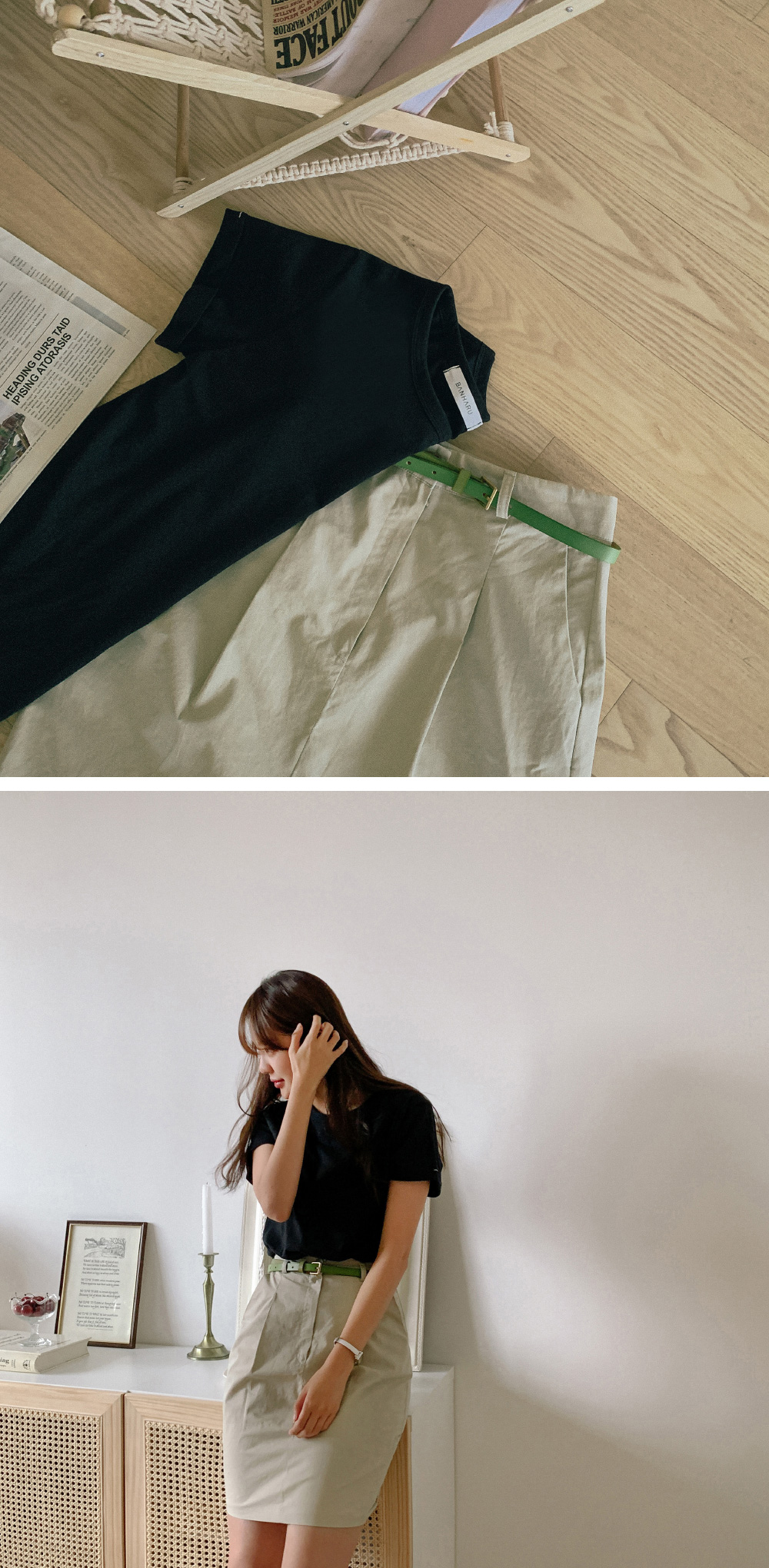 Daily pintuck cotton skirt