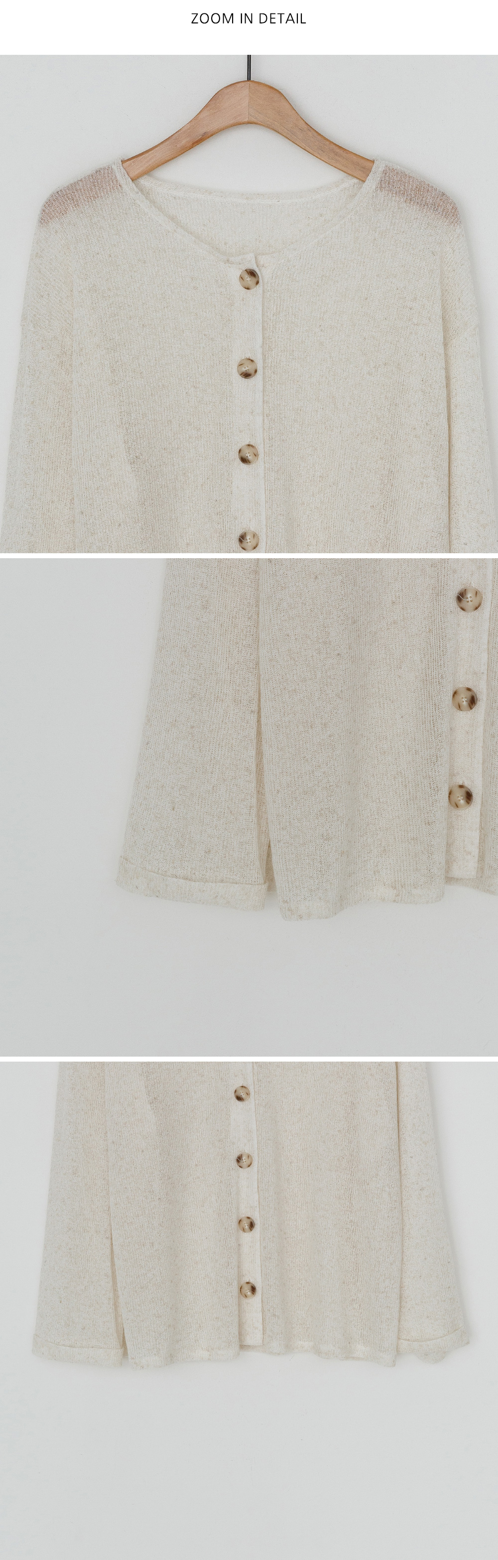 Retail Roll-up Loose Fit Linen Cardigan