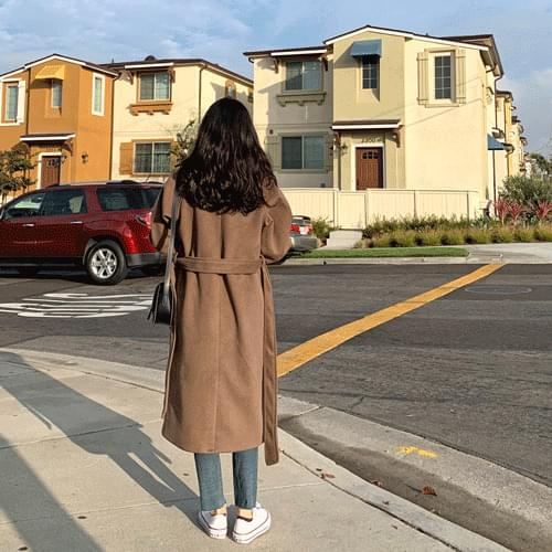 Wool double trench long coat O#YW129