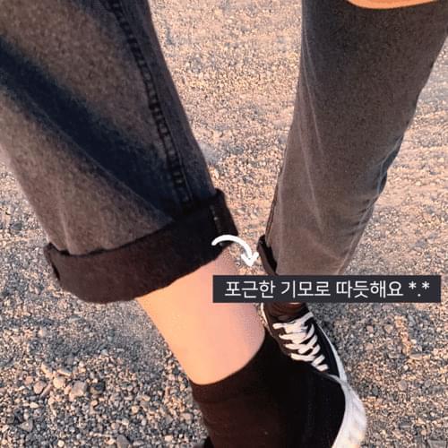 Straight Fit Fleece-lined Black Denim Denim P#YW377