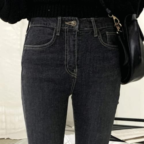 Hem cut boot cut black blue denim pants P#YW385