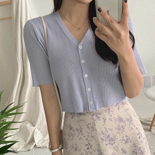 Risky short-sleeved cardigan