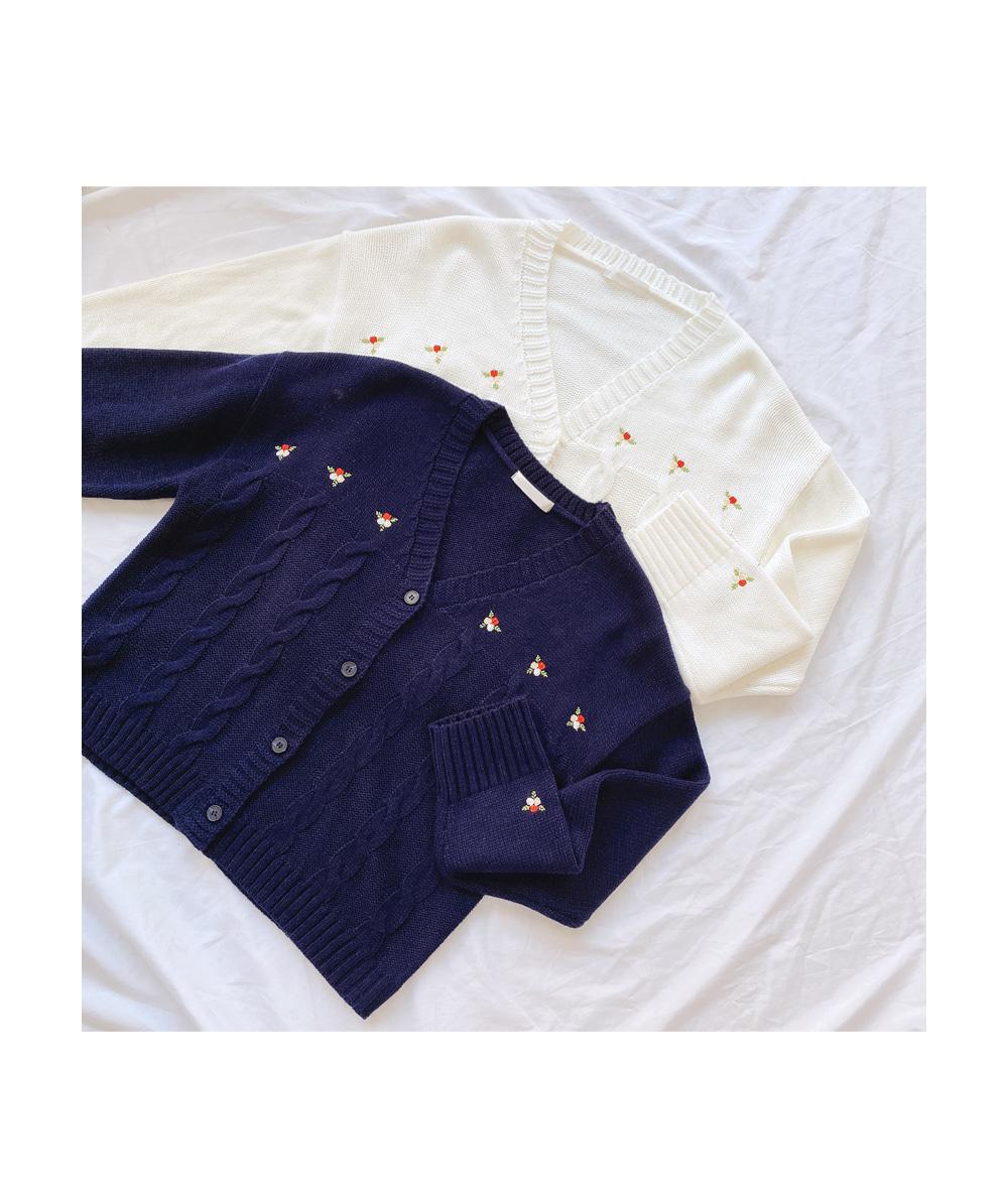 Flower embroidery V neck cardigan T#YW543