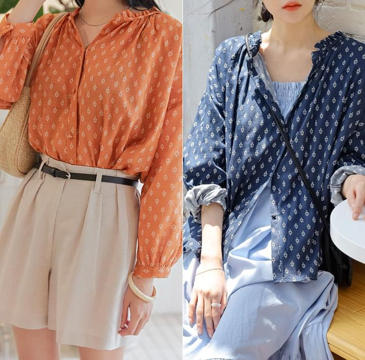 DAO ETHNIC PATTERN FRILL BLOUSE