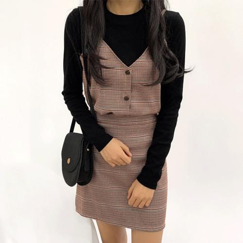 Check Bustier Skirt Two Piece Set T#YW372