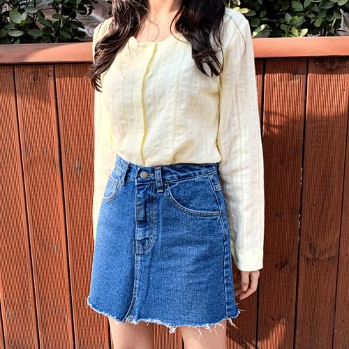 Hem surgical denim mini skirt P#YW408