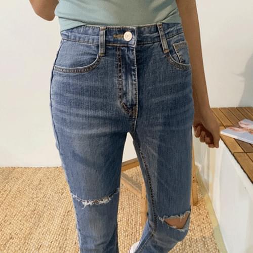 Knee-cut bootcut denim pants P#YW421